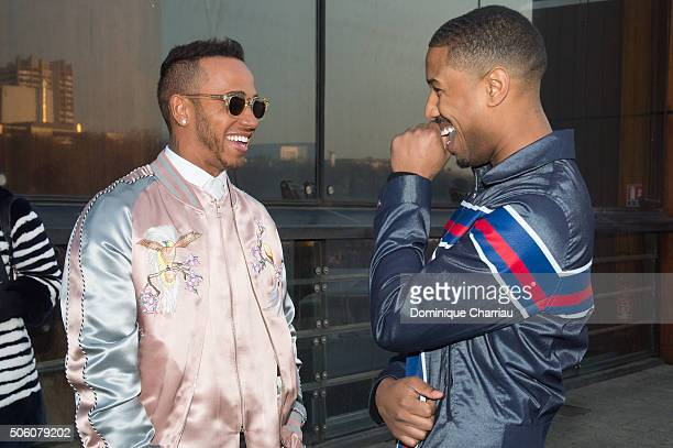 Lewis Hamilton and Michael B Jordan attend the Louis Vuitton Menswear Fall/Winter 20162017 show as part of Paris Fashion Week on January 21 2016 in...