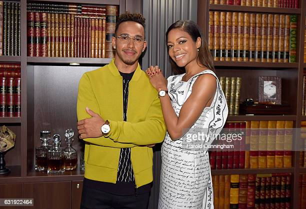 Lewis Hamilton and Naomie Harris visits the IWC booth during the launch of the Da Vinci Novelties from the Swiss luxury watch manufacturer IWC...