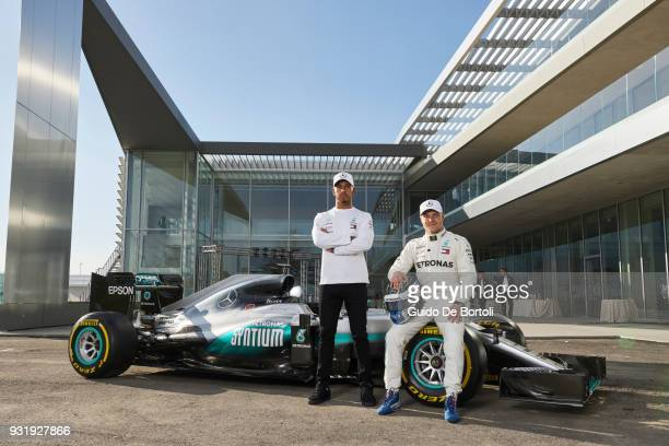 Lewis Hamilton and Valtteri Bottas MercedesAMG PETRONAS Motorsport drivers attend the PETRONAS Global Research and Technology Centre Preview on March...