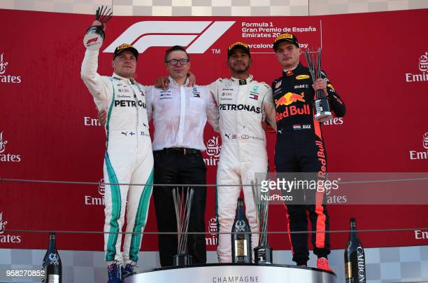 Lewis Hamilton and Valtteri Bottas, team Mercedes, and Max Verstappen, team Red Bull, in the podium of the GP Spain F1, on 13th May 2018 in...