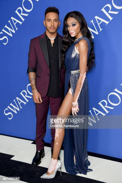 Lewis Hamilton and Winnie Harlow attend the 2018 CFDA Fashion Awards at Brooklyn Museum on June 4 2018 in New York City