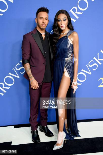 Lewis Hamilton and Winnie Harlow attend the 2018 CFDA Fashion Awards at Brooklyn Museum on June 4, 2018 in New York City.