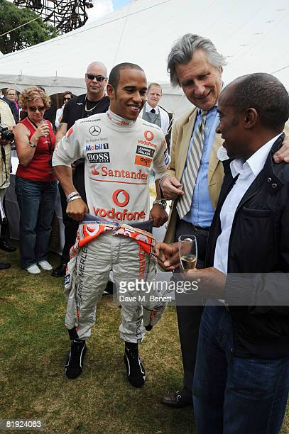 Lewis Hamilton Arnauld Bamberger and Anthony Hamilton attend the Cartier Style et Luxe Concours at the Goodwood Festival of Speed on July 13 2008 in...