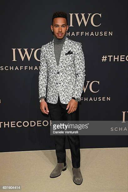 Lewis Hamilton arrives at IWC Schaffhausen at SIHH 2017 'Decoding the Beauty of Time' Gala Dinner on January 17 2017 in Geneva Switzerland