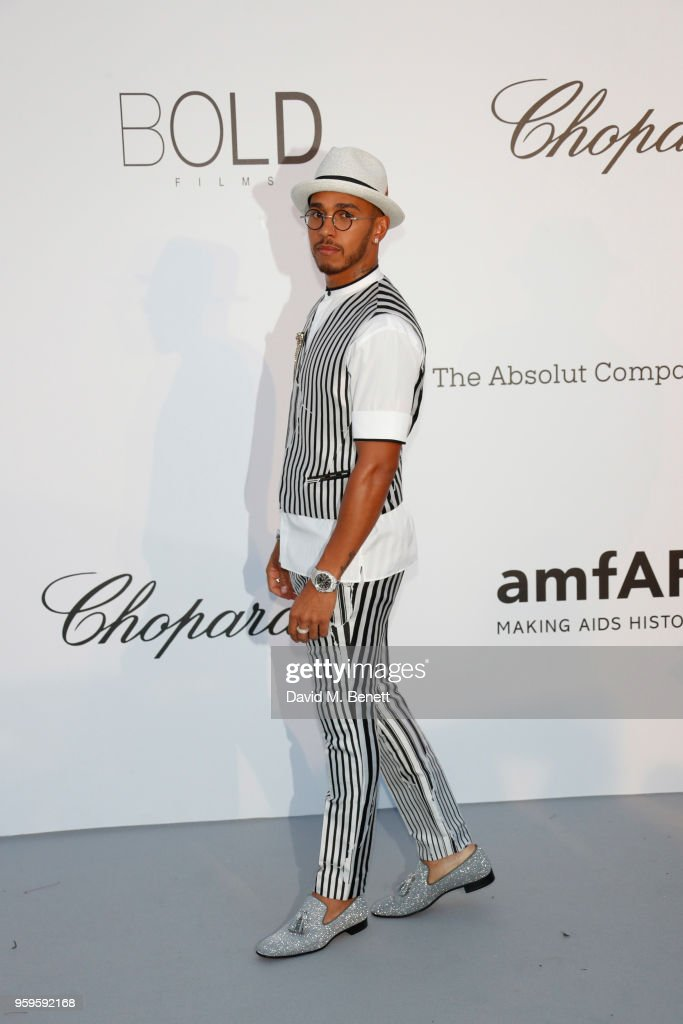 Lewis Hamilton arrives at the amfAR Gala Cannes 2018 at Hotel du Cap-Eden-Roc on May 17, 2018 in Cap d'Antibes, France.