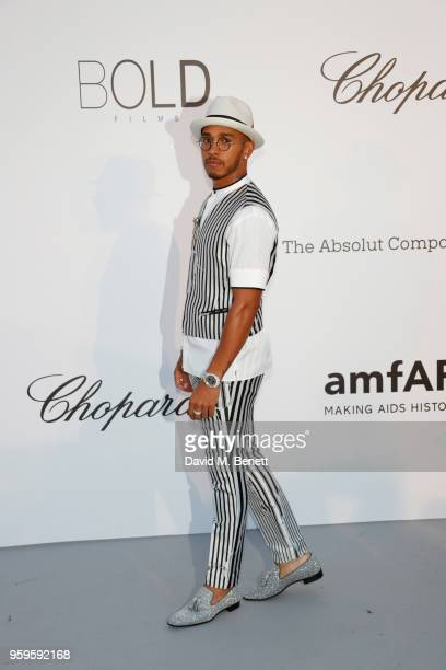 Lewis Hamilton arrives at the amfAR Gala Cannes 2018 at Hotel du CapEdenRoc on May 17 2018 in Cap d'Antibes France
