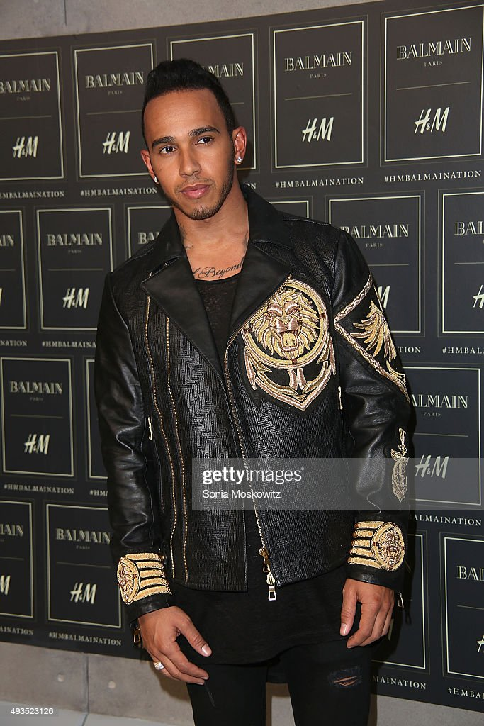 Lewis Hamilton arrives at the BALMAIN X H&M collection launch event at 23 Wall Street on October 20, 2015 in New York City.
