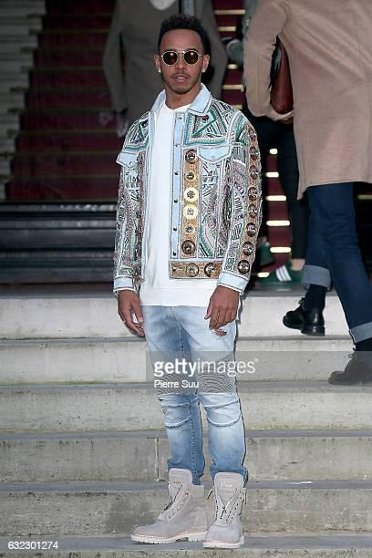 Lewis Hamilton attends the Balmain Menswear Fall/Winter 20172018 show as part of Paris Fashion Week on January 21 2017 in Paris France