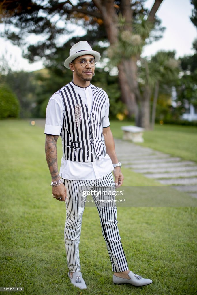 Lewis Hamilton attends the cocktail at the amfAR Gala Cannes 2018 at Hotel du Cap-Eden-Roc on May 17, 2018 in Cap d'Antibes, France.