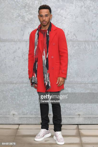 Lewis Hamilton attends the Emporio Armani show during Milan Fashion Week Fall/Winter 2017/18 on February 24 2017 in Milan Italy