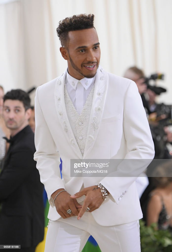 Lewis Hamilton attends the Heavenly Bodies: Fashion & The Catholic Imagination Costume Institute Gala at The Metropolitan Museum of Art on May 7, 2018 in New York City.