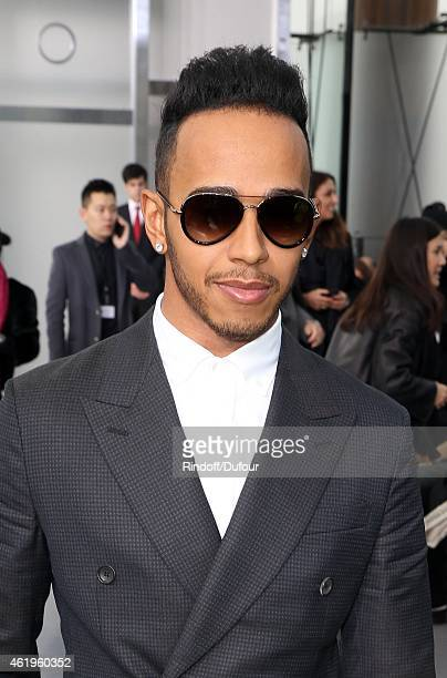 Lewis Hamilton attends the Louis Vuitton Menswear Fall/Winter 20152016 Show as part of Paris Fashion Week on January 22 2015 in Paris France