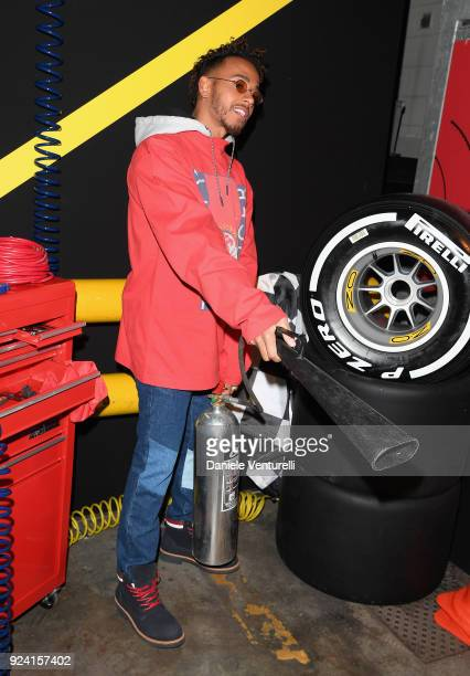 Lewis Hamilton attends the Tommy Hilfiger show during Milan Fashion Week Fall/Winter 2018/19 on February 25 2018 in Milan Italy