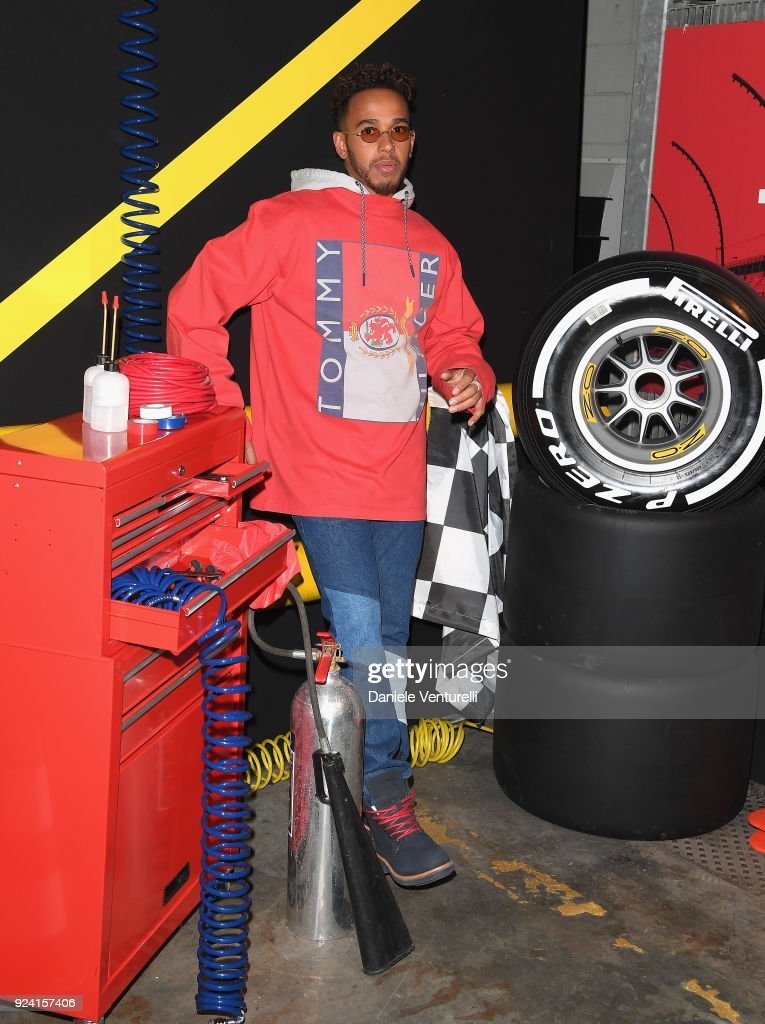 Lewis Hamilton attends the Tommy Hilfiger show during Milan Fashion Week Fall/Winter 2018/19 on February 25, 2018 in Milan, Italy.