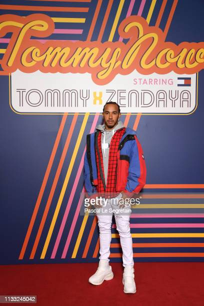 Lewis Hamilton attends the Tommy Hilfiger TOMMYNOW Spring 2019 TommyXZendaya Premieres at Theatre des ChampsElysees on March 02 2019 in Paris France