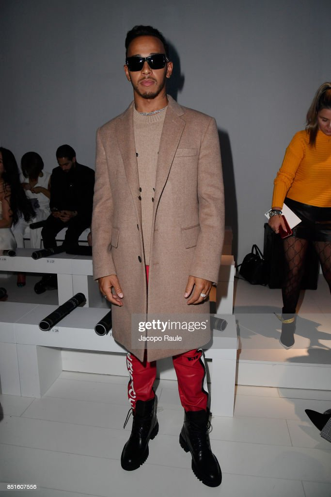 Lewis Hamilton attends the Versace show during Milan Fashion Week Spring/Summer 2018 on September 22, 2017 in Milan, Italy.