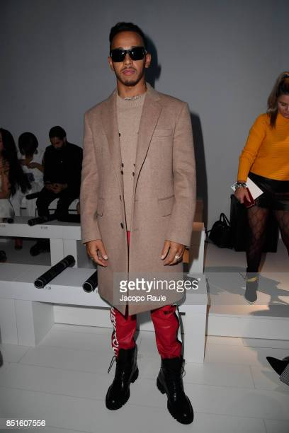 Lewis Hamilton attends the Versace show during Milan Fashion Week Spring/Summer 2018 on September 22 2017 in Milan Italy