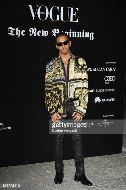 Lewis Hamilton attends theVogue Italia 'The New Beginning' Party during Milan Fashion Week Spring/Summer 2018 on September 22 2017 in Milan Italy