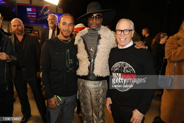 Lewis Hamilton Billy Porter and Tommy Hilfiger backstage at TOMMYNOW London Spring 2020 at Tate Modern on February 16 2020 in London England