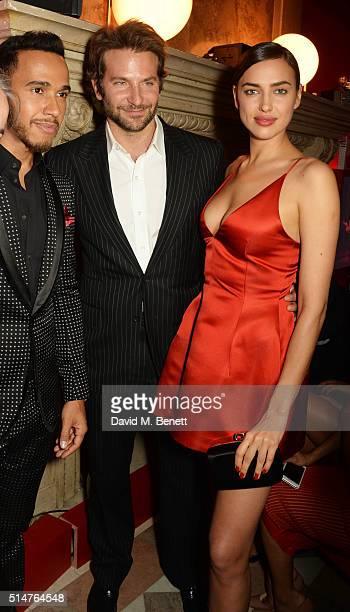 Lewis Hamilton Bradley Cooper and Irina Shayk attend the Red Obsession party in Paris to celebrate L'Oreal Paris's partnership with Paris Fashion...