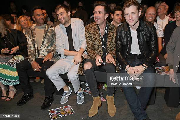 Lewis Hamilton Douglas Booth Nick Grimshaw and George Barnett attend the Topman Design show during London Collections Men SS16 at The Old Sorting...