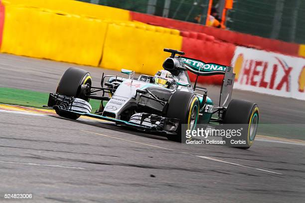 Lewis Hamilton driving for the Mercedes AMG Petronas F1 Team in action during the race of the 2015 Formula 1 Shell Belgian Grand Prix at Circuit de...