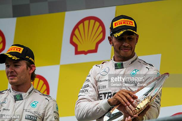 Lewis Hamilton driving for the Mercedes AMG Petronas F1 Team wins the 2015 Formula 1 Shell Belgian Grand Prix at Circuit de Spa-Francorchamps in...