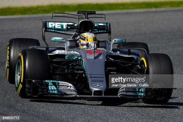 Lewis Hamilton driving his car during the Formula One preseason tests on May 7 2017 in Barcelona Spain