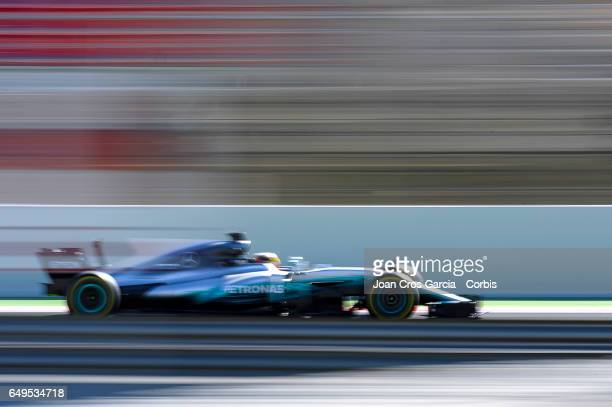 Lewis Hamilton from AMG Petronas Motorsport driving his car during the Formula One preseason tests on May 7 2017 in Barcelona Spain