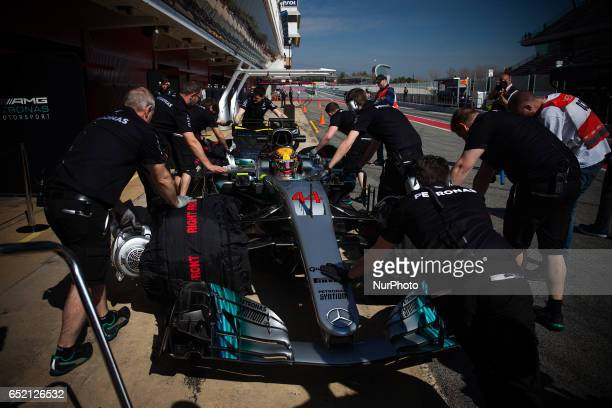 Lewis Hamilton from Great Britain of Mercedes W08 Hybrid EQ Power team Mercedes GP in action during the Formula One winter testing at Circuit de...