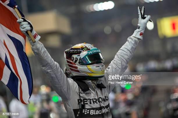 Lewis Hamilton, Grand Prix of Abu Dhabi, Yas Marina Circuit, 23 November 2014. Lewis Hamilton after the finish of the 2014 Abu Dhabi Grand Prix when...