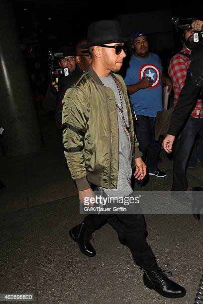 Lewis Hamilton is seen at LAX on February 06 2015 in Los Angeles California