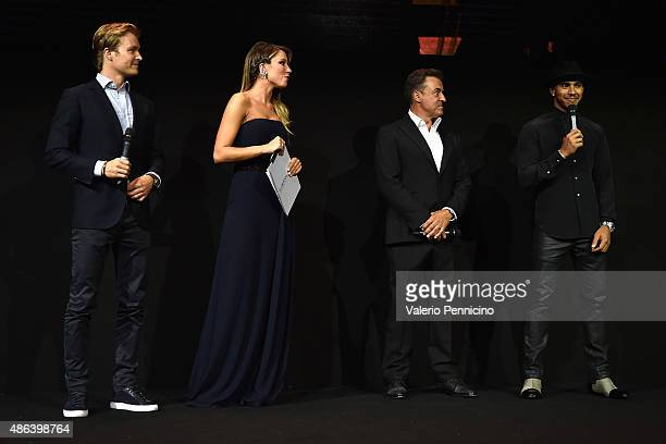 Lewis Hamilton Jean Alesi Federica Masolin and Nico Rosberg attend during the Laureus F1 Charity Night 2015 at MercedesBenz Spa on September 3 2015...