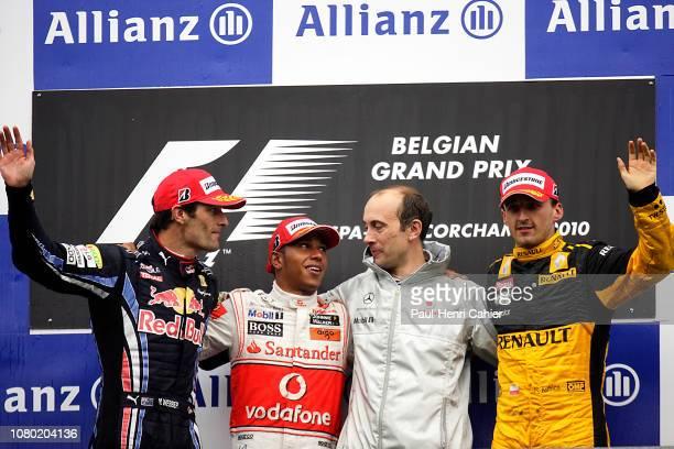 Lewis Hamilton, Mark Webber, Robert Kubica, Grand Prix of Belgium, Circuit de Spa-Francorchamps, 29 August 2010. Winner Lewis Hamilton with Mark...