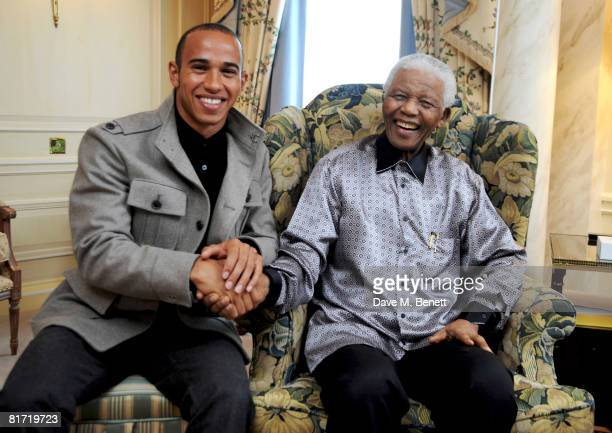 Lewis Hamilton meets with Nelson Mandela ahead of the 46664 concert being held in Hyde Park on Friday the 27th of June, at the Dorchester Hotel on...