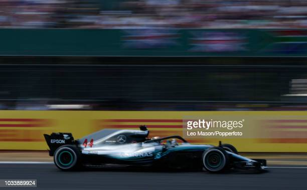 Lewis Hamilton of England driving a F1 Mercedes AMG Petronas Motorsport during the F1 British Grand Prix at Silverstone Circuit on July 8 2018 in...