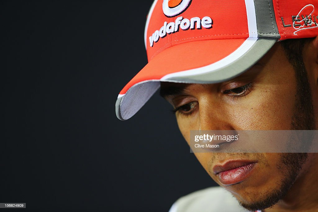 Lewis Hamilton of Great Britain and McLaren attends the drivers press conference during previews for the Brazilian Formula One Grand Prix at the Autodromo Jose Carlos Pace on November 22, 2012 in Sao Paulo, Brazil.