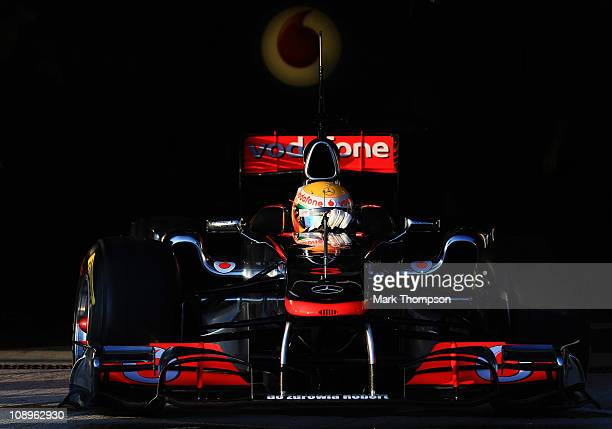 Lewis Hamilton of Great Britain and McLaren drives during day one of winter testing at the Circuito de Jerez on February 10 2011 in Jerez de la...