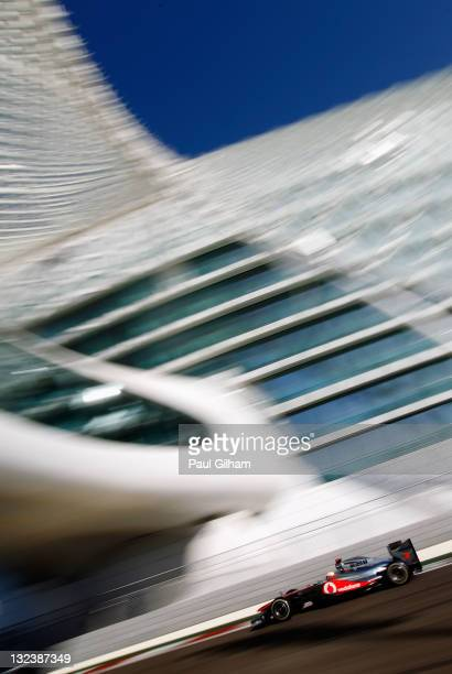 Lewis Hamilton of Great Britain and McLaren drives during the final practice session prior to qualifying for the Abu Dhabi Formula One Grand Prix at...