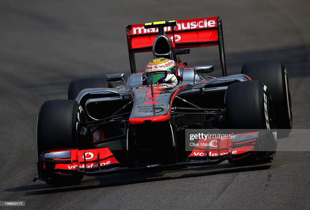 Lewis Hamilton of Great Britain and McLaren drives on his way to finishing first during qualifying for the Brazilian Formula One Grand Prix at the Autodromo Jose Carlos Pace on November 24, 2012 in Sao Paulo, Brazil.