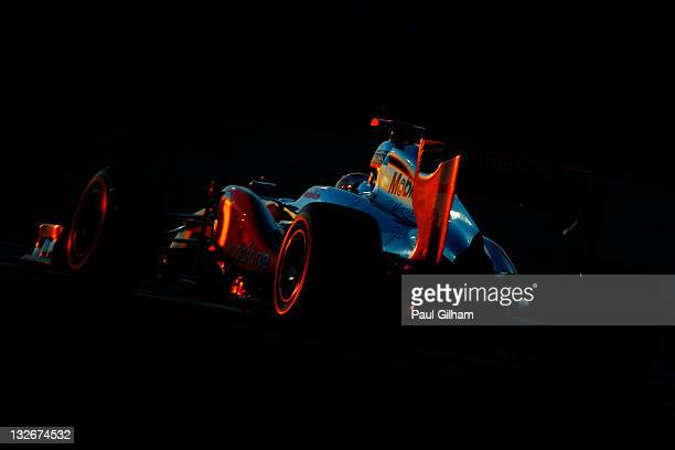 Lewis Hamilton of Great Britain and McLaren drives on his way to winning the Abu Dhabi Formula One Grand Prix at the Yas Marina Circuit on November...