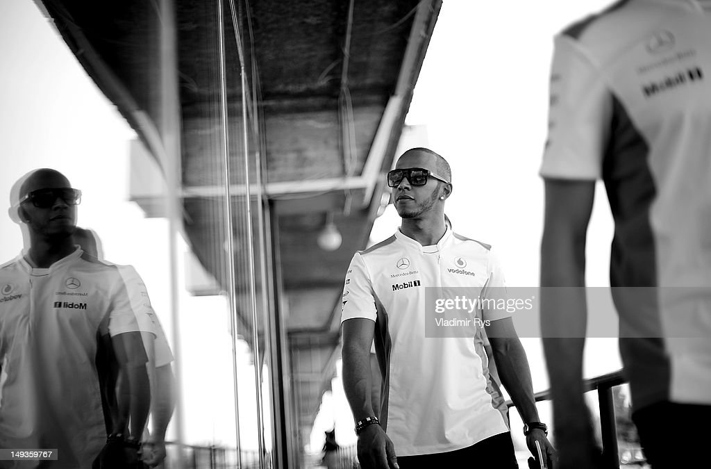 Lewis Hamilton of Great Britain and McLaren is seen in the paddock after practice for the Hungarian Formula One Grand Prix at the Hungaroring on July 27, 2012 in Budapest, Hungary.