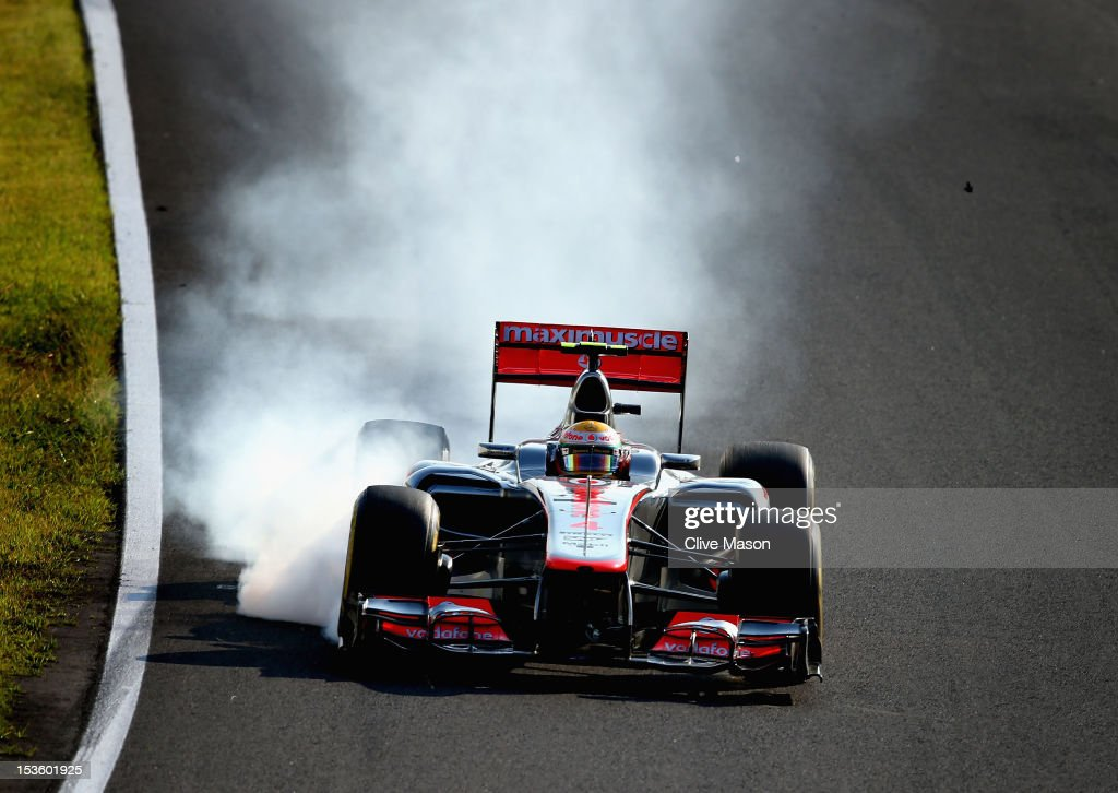 Lewis Hamilton of Great Britain and McLaren locks his brakes during the Japanese Formula One Grand Prix at the Suzuka Circuit on October 7, 2012 in Suzuka, Japan.