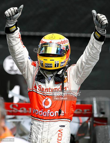 Lewis Hamilton of Great Britain and McLaren Mercedes celebrates winning his first Grand Prix and the youngest to win the Canadian Formula One Grand...