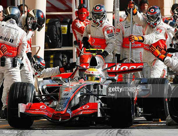 Lewis Hamilton of Great Britain and Mclaren Mercedes comes in for a pitstop during the Bahrain Formula One Grand Prix at the Bahrain International...