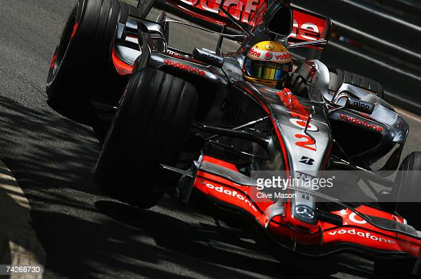 Lewis Hamilton of Great Britain and McLaren Mercedes drives during practice for the Monaco Formula One Grand Prix at the Monte Carlo Circuit on May...
