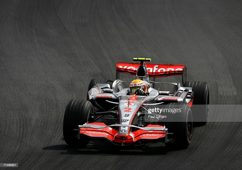 Lewis Hamilton of Great Britain and McLaren Mercedes drives during the Brazilian Formula One Grand Prix at the Autodromo Interlagos on October 21, 2007 in Sao Paulo, Brazil.