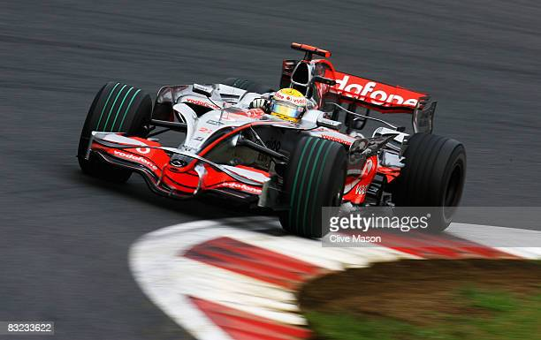 Lewis Hamilton of Great Britain and McLaren Mercedes drives during the Japanese Formula One Grand Prix at the Fuji Speedway on October 12 2008 in...