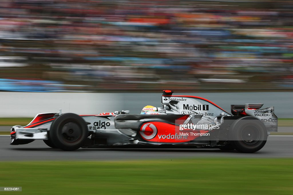Lewis Hamilton of Great Britain and McLaren Mercedes drives during the Japanese Formula One Grand Prix at the Fuji Speedway on October 12, 2008 in Shizuoka, Japan.