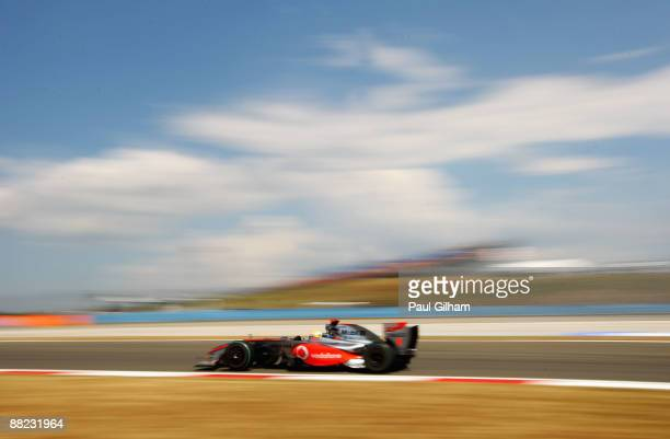 Lewis Hamilton of Great Britain and McLaren Mercedes drives during practice for the Turkish Formula One Grand Prix at Istanbul Park on June 5 in...